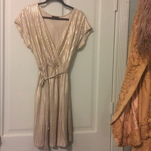 Dresses & Skirts - Gold Metallic Crossover Wrap Dress
